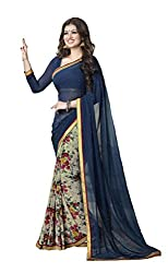Shree Plus Blue and Off-white Color Georgette Saree