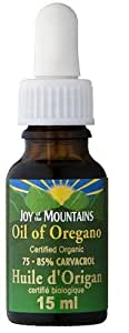 Oregano Oil CERTIFIED ORGANIC- Joy of the Mountain - 75% Carvacrol (15mL) Brand: Joy of the Mountain
