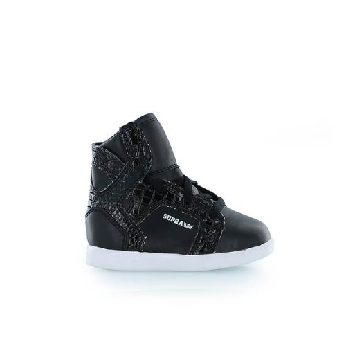 Supra Baby Skytop Skate Shoe - Infant Soft Faux Leather/Black Croc, 3.0