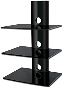 Floating 3 Glass SHELF Wall Mount for AUDIO VIDEO DVD Hi Fi Equipment - all BLACK