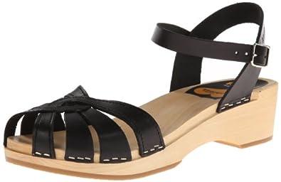 swedish hasbeens Women's Cross Strap Debutant Platform Sandal,Black,36 BR/6 M US