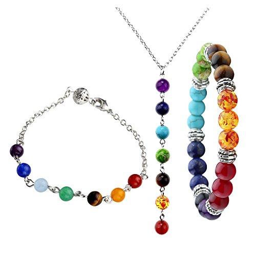 Top Plaza 7 Chakra Jewelry Set - Healing Balance Energy 7 Chakra Bracelets + Necklace