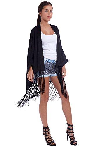 Q2 Mujer Capa estilo manta japonesa negra con flecos