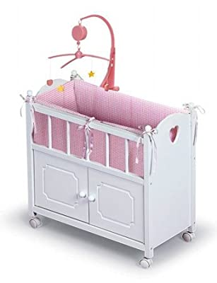 Badger Basket White Doll Crib With Cabinet Bedding And Mobile - Pink/White from Badger Basket