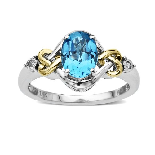 Sterling Silver and 14k Yellow Gold Diamond and Swiss Blue Topaz Ring (0.01 cttw, I-J Color, I3 Clarity), Size 6