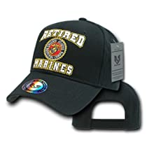 Retired Marines Military Baseball Cap by Rapid Dominance (Black)