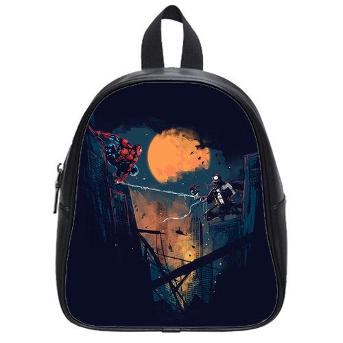 Fashion High-Grade Pu Leather Spiderman School Book Travel Bag Backpack Daypack For Boys Girls Small