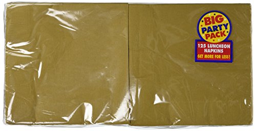 Amscan Big Party Pack 125 Count Luncheon Napkins, Gold
