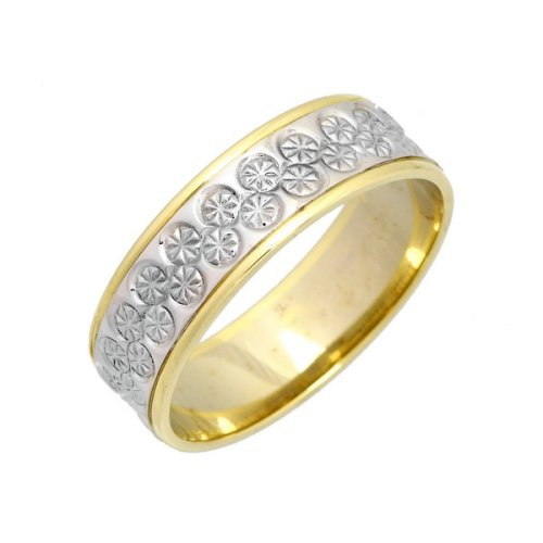 Wedding Ring, 9 Carat Yellow  &  White Gold with Small Diamond Set Detail, 6mm Band Width