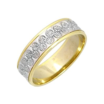 9ct 6mm Gents 2 Colour Gold  Diamonds Designed Pattarn Fancy Wedding Band