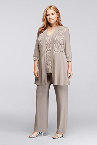 Plus Size Mock Two Piece Lace and Jersey Pant Suit Style 7772