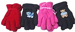 Four Pairs Mongolian Fleece Gloves for Toddlers Ages 6-24 Months