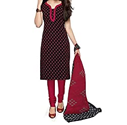 Red Mango Color Cotton Printed Dress Material