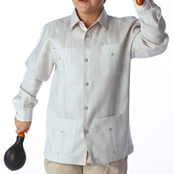 Boy's Long Sleeve Guayabera, size 6-7 & Light Blue.