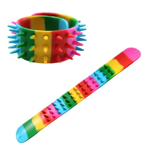 Retro Rainbow Spiked Snap Bracelets Wristbands - Unisex