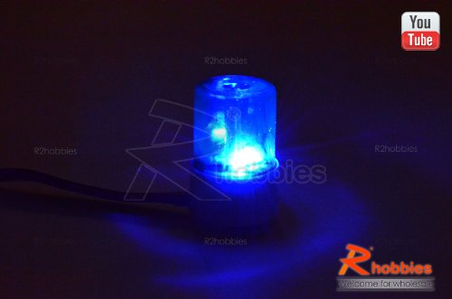 Φ13.5Mm Police Petrol 360° Rotation Led Light Beacon For 1/10 1/14 Rc Car Blue