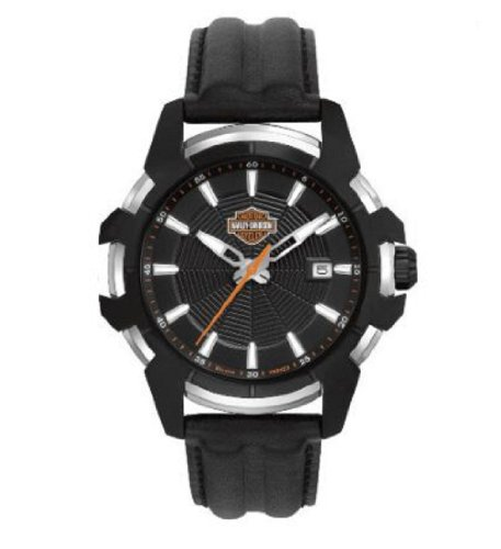 Harley-Davidson® Bulova Men's Spider Collection Black Dial Watch. Patterned Dial. Luminious Hands and Markers. Leather Strap. 78B123