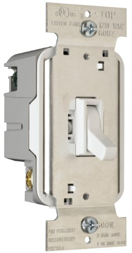 Pass & Seymour T600WV Toggle Dimmer 600-watt Single Pole Easy Install, White