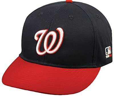 "Washington Nationals ""NAVY/RED W"" ADULT Cap (NEW CF2 VISOR Shaped Flat or Curved) MLB Adjustable Velro Replica Baseball Hat"