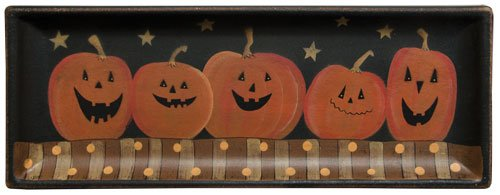 Tray - Jolly Jack O'Lantern Tray & Easel - Primitve Country Rustic Halloween Pumpkin Wood Plate Stand Fall Seasonal Decor