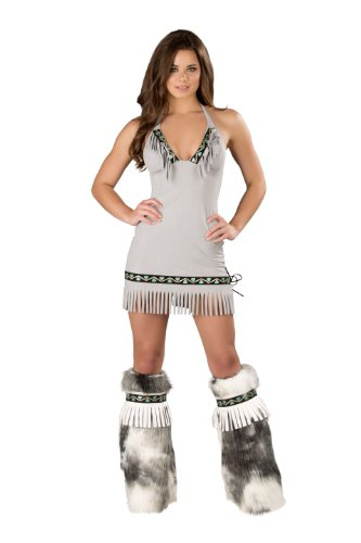 J. Valentine Women's White Eskimo Dress, Grey, Medium
