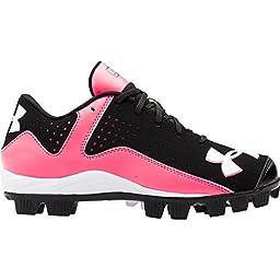 Girls Under Armour Leadoff Low RM Softball/Baseball Cleats Black/Cerise Size 1 M US