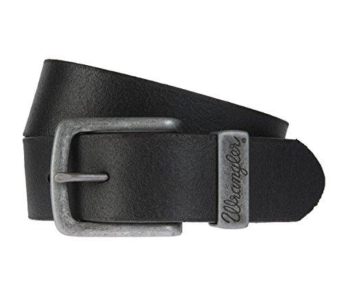 Wrangler - Uomo Cintura, Cintura in pelle nero, Länge:90 cm;Farbe:schwarz
