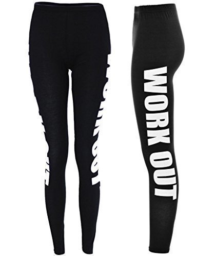 ClothesFactor21  Damen Leggings Jersey Work Out Trainings Hose  Schwarz, M/L (EU 4042) Picture