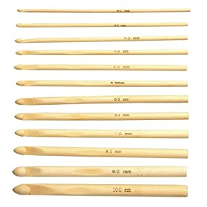 FUSION - 3mm, 3.5mm, 4mm, 4.5mm, 5, 5.5, 6mm, 6.5mm, 7mm, 8mm, 9mm and 10mm - 12 Stück BAMBUS Häkelnadeln Nadelset