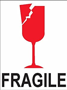4x3 Fragile Broken Cracked Wine Glass Shipping Stickers Labels - 8