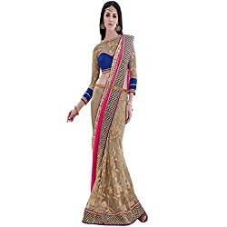 Designer Partywear Saree Fashionable Latte Brown Blue Heavy Border Traditional Heavy Moti Work Brown Color Saree Designed by vasu saree