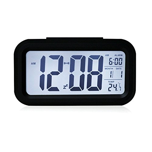 """5.3"""" Smart, Simple and Silent LED Alarm Clock w/ Date Display, Repeating Snooze and Sensor Light + Night Light (Black, White night light)"""