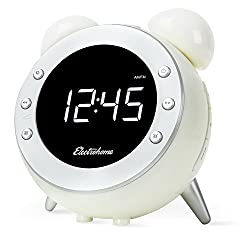 Electrohome Retro Alarm Clock Radio with Motion Activated Night Light and Snooze, Digital AM/FM Radio, Wake-up Light, Dual Alarm, Auto Time Set, Battery Backup, Dimmer, and Temperature Display (CR35W)