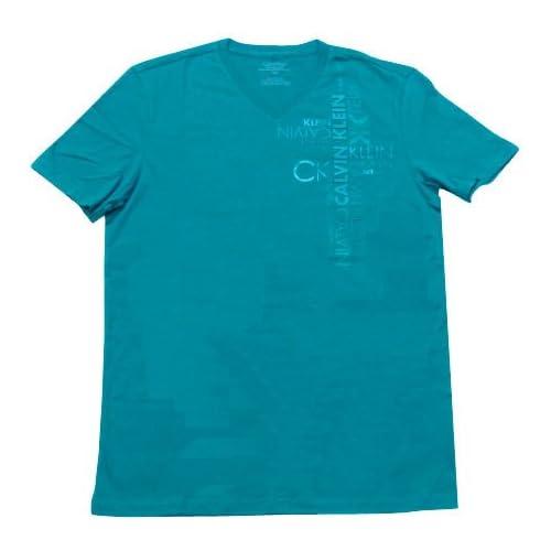 【メンズ】Calvin Klein(カルバンクライン) VネックラバーロゴTシャツ(Seagreen)/BODY FIT M [並行輸入品] [ウェア...