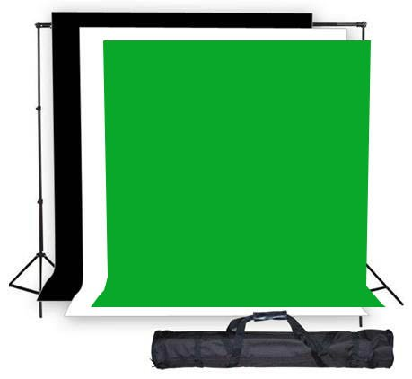 Studio Photography Photo Background Support Stand 2.6m x 3m with Free 1.8m x 2.8m Black White and Green Muslin Screen and Carrying Bag