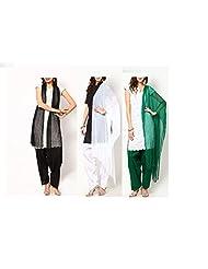 Ashmita Cotton Set Of Patiyall & Dupattas -Black ,White,Green - FS