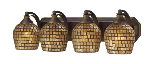 Elk 570-4B-Gld 4-Light Vanity In Aged Bronze And Gold Mosaic Glass