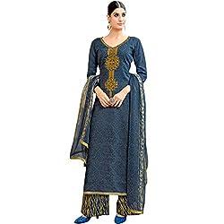 SHELINA Women Blue Cotton Satin Printed Salwar Suit