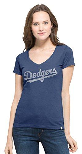 MLB Los Angeles Dodgers Women's Flanker MVP V-Neck Tee, X-Large, Bleacher Blue