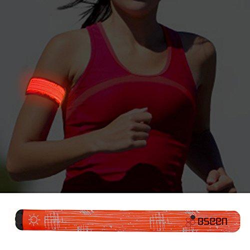 Higo LED Running Lights - Rainproof LED Slap Bracelet, Jogging Armband Wraps with Reflecive Printing& Color Box Package (Orange--Design Ⅲ) (Armband Light For Running compare prices)
