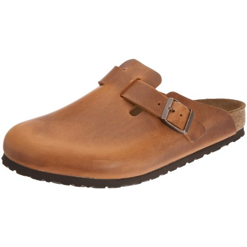 Birkenstock Boston Smooth Leather, Style-No. 760893, Unisex Clogs, Antique Brown, EU 45, slim width