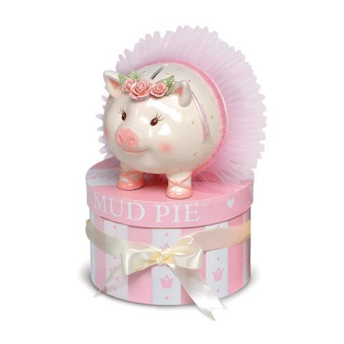 "Mud Pie - Ballerina Kids Piggy - Money Bank - Hand-painted Ceramic - 5.5"" x 6"""
