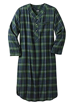 kingsize men 39 s big tall plaid flannel nightshirt balsam plaid big 7xl 8x clothing. Black Bedroom Furniture Sets. Home Design Ideas
