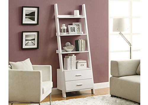"WHITE 69""H LADDER BOOKCASE WITH 2 STORAGE DRAWERS (SIZE: 26L X 17W X 69H)"
