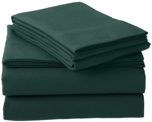 Pinzon 160-Gram Solid 100-Percent Cotton Flannel Sheet Set, Twin Xl, Forest Green front-991193