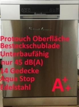 SCHAUBLORENZ Geschirrspüler DW14A++7IX / Standgerät / A++ / freistehend / Aqua Stop / Halbe Beladung Funktion / Besteckschublade / Unterbaufähig / Express 40° 36 Min / Protouch Oberfläche / 60 cm