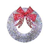 "Trim A Home Sparkling Mesh Santa 140 Lights Led White Wreath 36"""