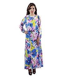 Envy Women's Blended Round Neck Dress (Blue, Free Size)