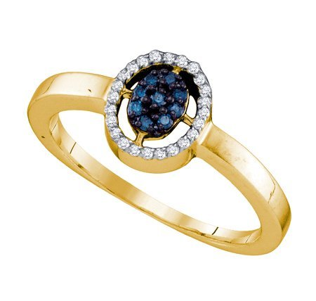 10k Yellow Gold Ring 0.17 ct Blue Diamonds Center Outline w/ White Diamonds Set in Oval Centerpiece - Incl. ClassicDiamondHouse Free Gift Box & Cleaning Cloth