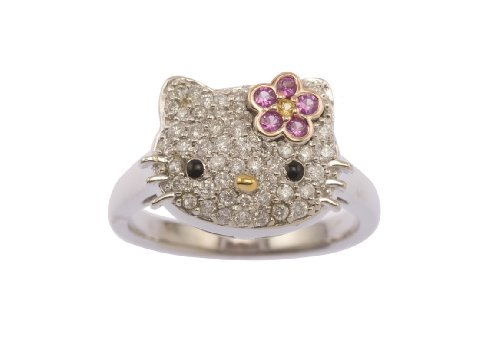 "Hello Kitty by Kimora Lee Simmons ""Simply Kitty"" Tri-Colored Gold Ring, Size 7"